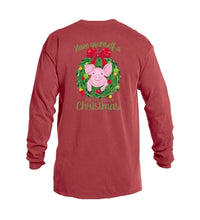 Pig in Wreath:  Have Yourself a Merry Little Christmas Long Sleeve T shirt Jane Marie Unisex