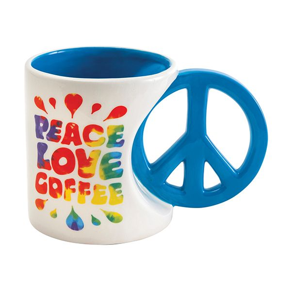 Peace, Love, Coffee Fun Peace Sign Coffee Mug for the Hippie Chics-The Pink Pigs, A Compassionate Boutique