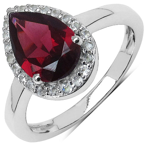 Pear Shaped Rhodolite Garnet and Topaz Solitaire Ring Sterling Silver - The Pink Pigs, A Compassionate Boutique