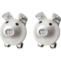 Pearl Pig Earrings with Matching Pig in Moon Necklace-So CUTE!-The Pink Pigs, A Compassionate Boutique