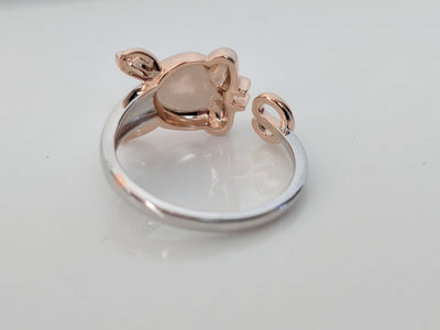 Rose Gold Plated Sterling Silver Piggy Ring and Post Earrings