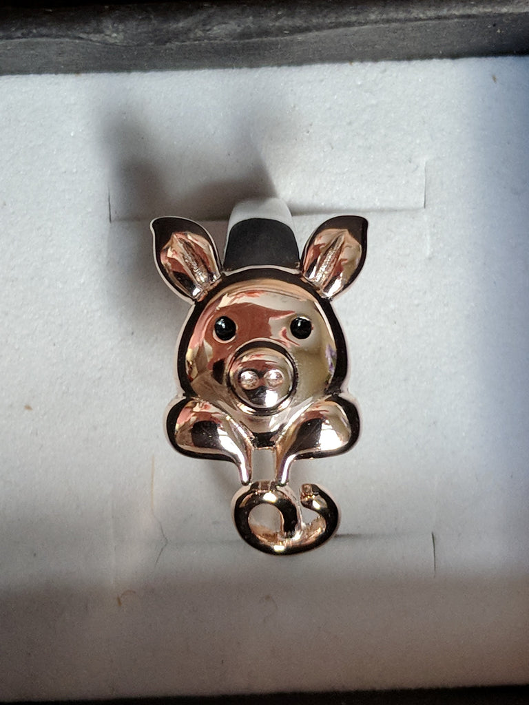 Pig in a Heart Necklace, Ring and Earrings, SET.  Sterling Silver