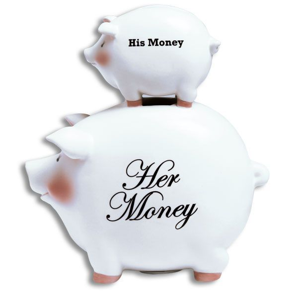 Piggy Bank-His Money/Her Money Stacked Piggy Bank SO CUTE!-The Pink Pigs, A Compassionate Boutique