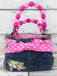 NGIL Floral Pig Denim Jeans Handbag with Pink Beaded Handles