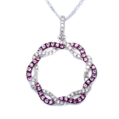 Pink Sapphire and Diamond Circle of Life Necklace in 14K White Gold-A New Twist on an Old Favorite!-The Pink Pigs, A Compassionate Boutique