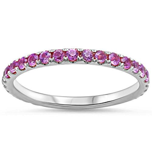 Pink Sapphire Anniversary Band in 14K White Gold-The Pink Pigs, A Compassionate Boutique