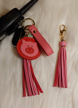Faux Leather Pig Key Chain with Strap, Tassel and Rooterville Logo!-The Pink Pigs, A Compassionate Boutique