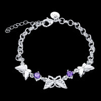 Purple Amethyst CZ Butterfly Bracelets in Sterling Silver