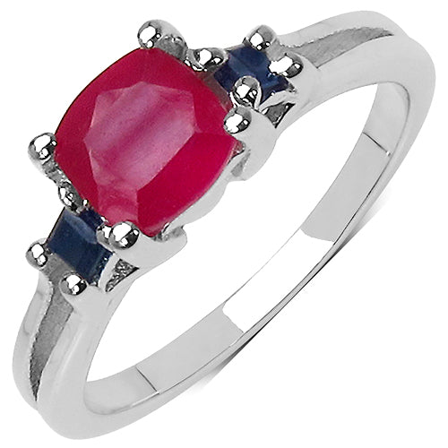 Genuine Ruby & Sapphire Three Stone Sterling Silver Ring, 1.77 Carat - The Pink Pigs, A Compassionate Boutique