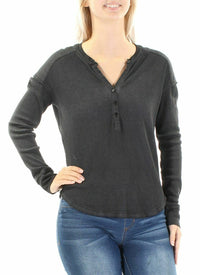 "Sanctuary Dark Gray ""Brando"" Waffle Knit Henley Top, Long Sleeve, Large"