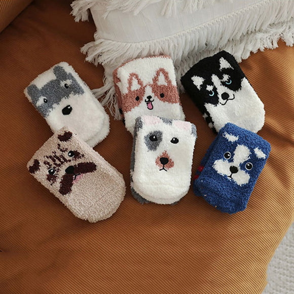 Fuzzy Sherpa Soft Dog Socks-Corgi,Sharpei,Malamute, More! - The Pink Pigs, A Compassionate Boutique