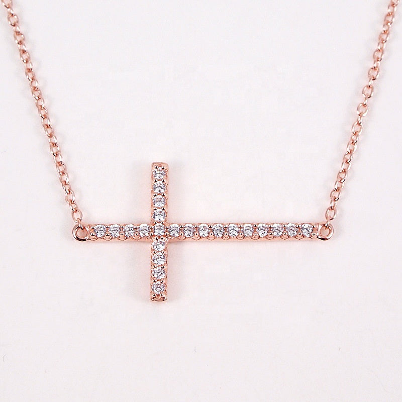 Sterling Silver Gold Plated Sideways Cross Necklace with Cubic Zirconia