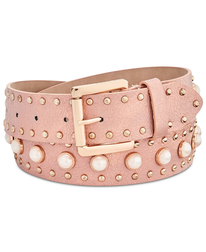 Steve Madden Faux Pearl Metallic Pink Crackled Belt with Gold Studs VEGAN - The Pink Pigs, A Compassionate Boutique
