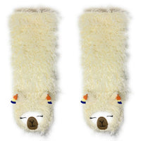 Plush Shaggy Llama Knee High Slipper Socks Beautiful, Cute, Luxurious!