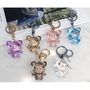Acrylic Pig Keychains in Pink, purple, blue, black, gold & clear, SO CUTE! NOT sold in stores! - The Pink Pigs, Fine Jewels and Gifts for People who Love Animals!