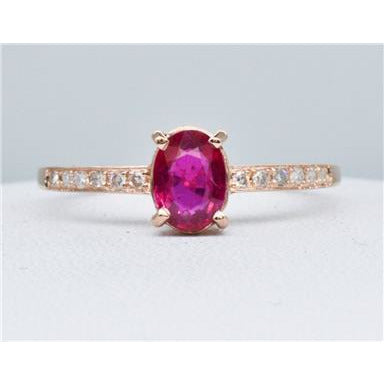 Beautiful Ruby and Diamond Solitaire in-The Pink Pigs, A Compassionate Boutique
