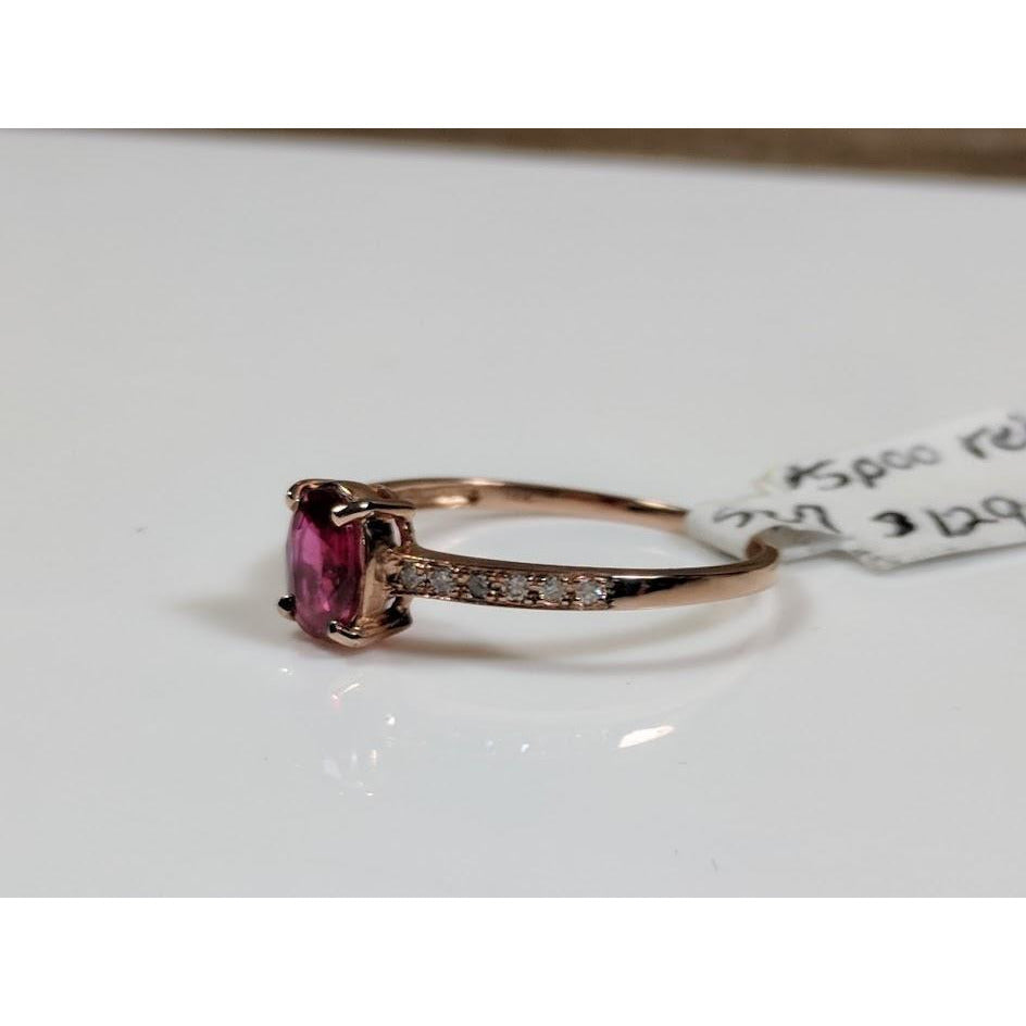Affordable Ruby and Diamond Solitaire Ring in 14K Rose Gold - The Pink Pigs, Fine Jewels and Gifts for People who Love Animals!