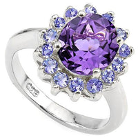 Amethyst and Tanzanite Ring in 925 Sterling Silver 3.56ctw, Beautiful and Affordable!-The Pink Pigs, A Compassionate Boutique