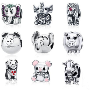 Animal Charms for Pandora Style Bracelets Sterling Silver Cow, Pig, Owl, Chipmunk