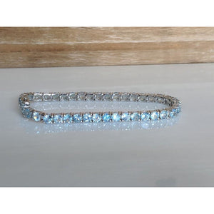 Aquamarine Tennis Bracelet in 925 Silver, 10.5ctw Beautiful AND Affordable! - The Pink Pigs, Fine Jewels and Gifts for People who Love Animals!