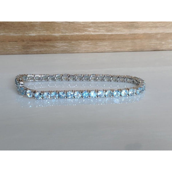 Aquamarine Tennis Bracelet in Sterling Silver, 15.37ctw Beautiful AND Affordable!-The Pink Pigs, A Compassionate Boutique