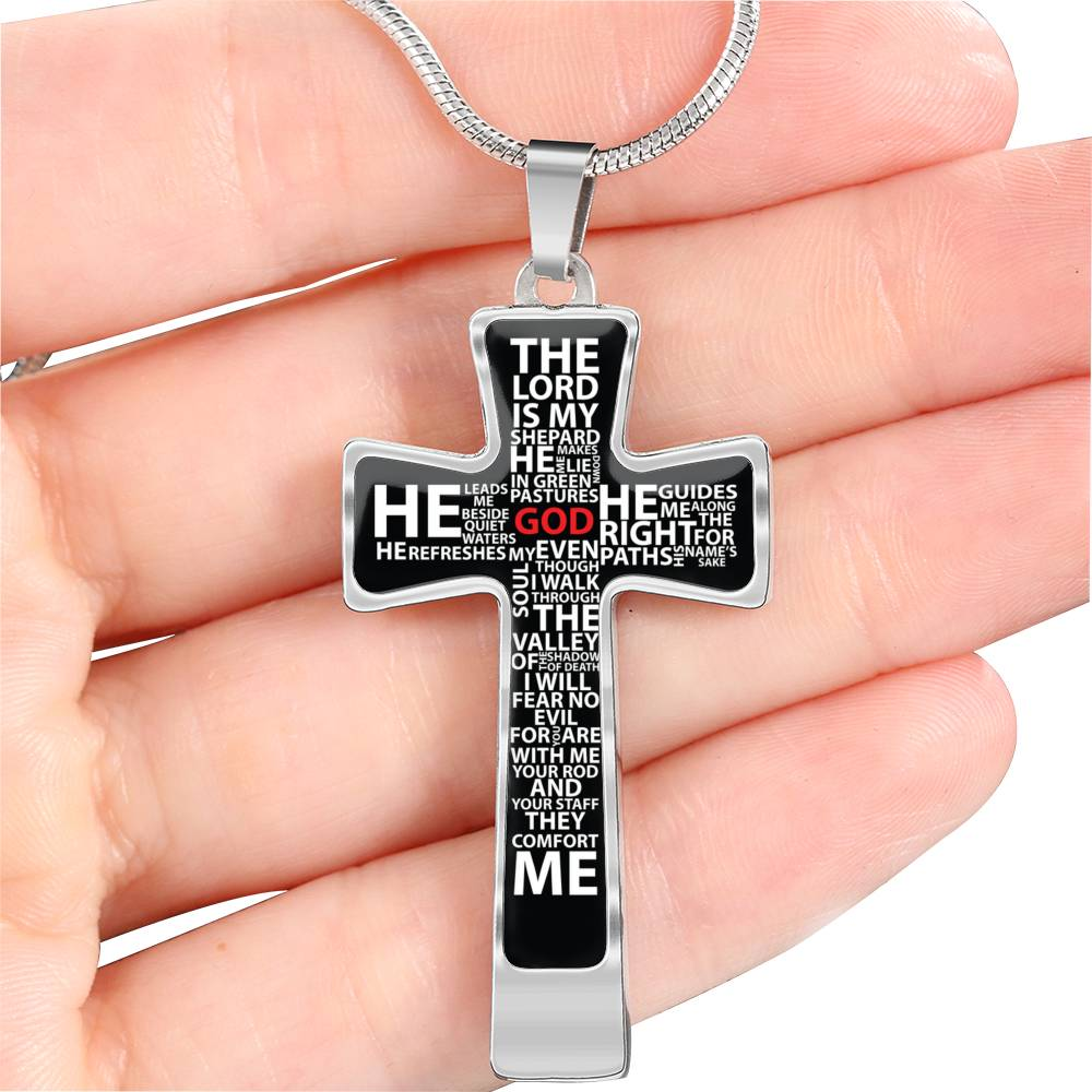 psalm 23 cross necklace