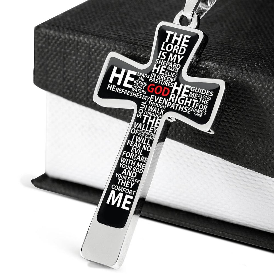 cross necklace psalm 23 silver