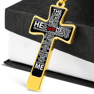 cross necklace psalm 23 bible verse