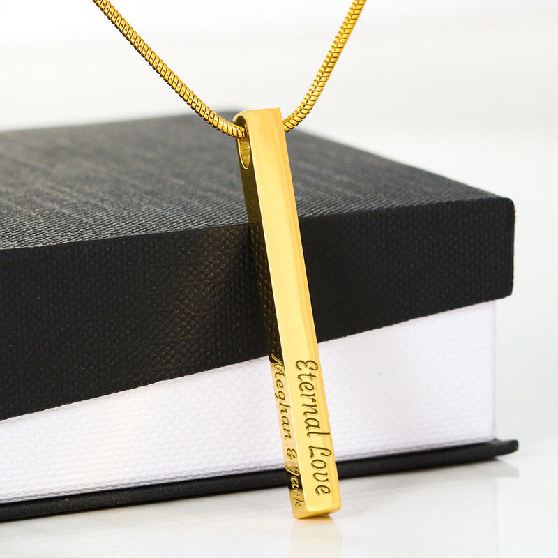 4 Sided Vertical Bar Necklace- Custom Engrave it to Make it Extra Special - The Pink Pigs, A Compassionate Boutique