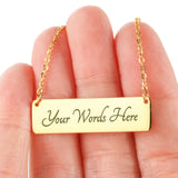 Gold Personalized Horizontal Bar Necklace Faith, Hope, and Love