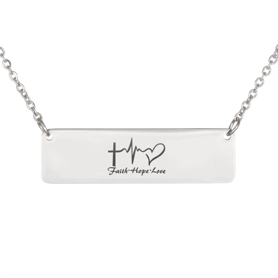 Personalized Horizontal Bar Necklace Faith, Hope, and Love Silver