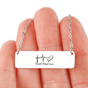 Personalized Horizontal Bar Necklace Faith, Hope, and Love Gold