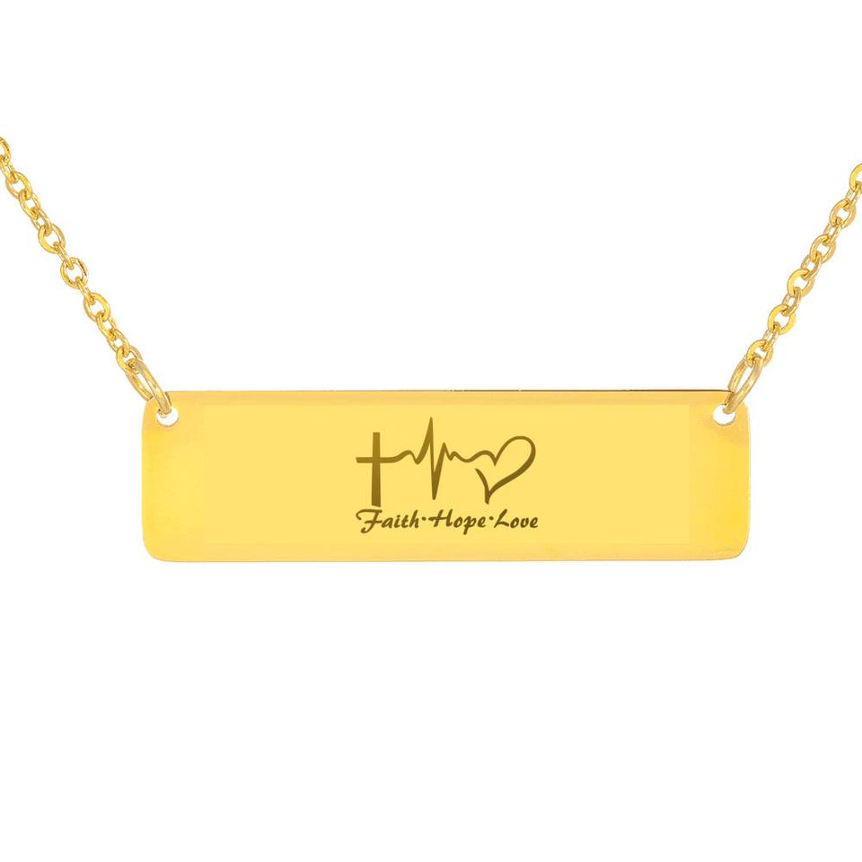Personalized Horizontal Bar Necklace Faith, Hope, and Love