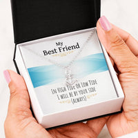 "Necklace ""Best Friend - In high tide or low tide I will be by your side. (Always.)""-The Pink Pigs, A Compassionate Boutique"