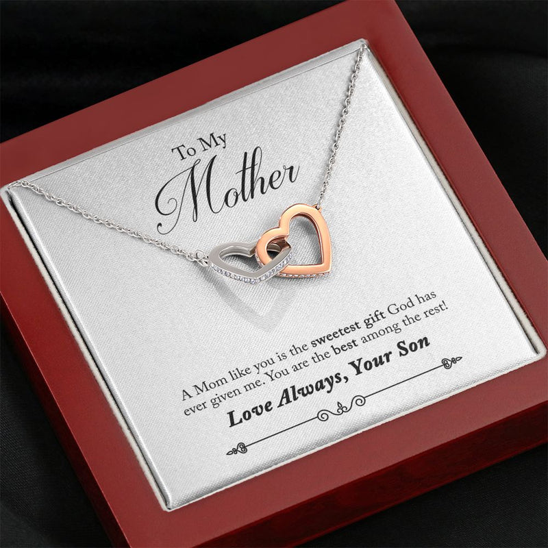 "Necklace ""To Mother from Son - A mom like you is the sweetest gift God has ever given me."" - The Pink Pigs, A Compassionate Boutique"