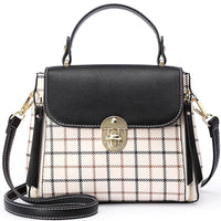Beautiful Checked Black and Cream Cross Body Handbag-VEGAN-The Pink Pigs, A Compassionate Boutique