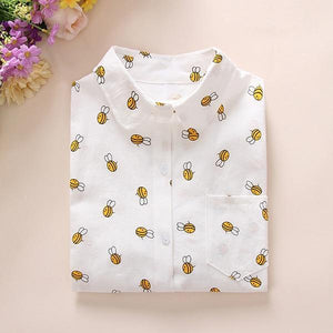 Ladies White Long Sleeve Cotton Blouse with BEES on it! - The Pink Pigs, Fine Jewels and Gifts for People who Love Animals!