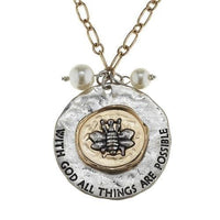 Bee & Pearl Necklace: All Things are Possible! Jane Marie, Perfect Gift!-The Pink Pigs, A Compassionate Boutique
