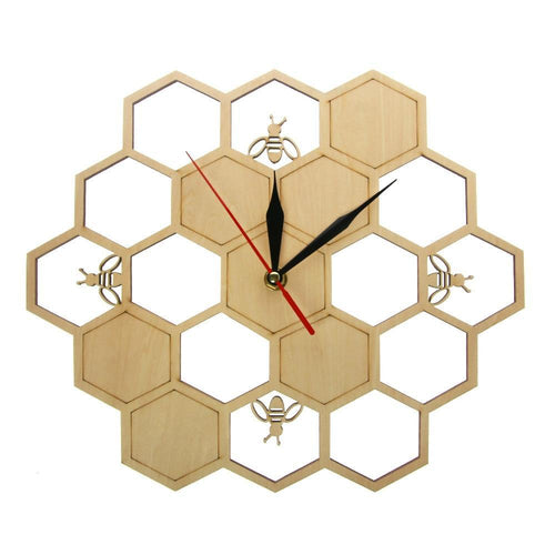 Busy Bees and Honeycomb Contemporary Natural Wooden Wall Clock - The Pink Pigs, Fine Jewels and Gifts for People who Love Animals!