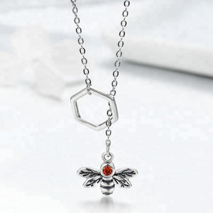 Bee with Lariat Necklace in 925 Sterling Silver - The Pink Pigs, Fine Jewels and Gifts for People who Love Animals!
