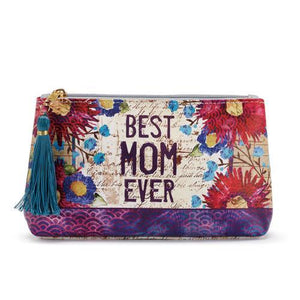 BEST MOM EVER!  Cosmetic Bag by Demdaco, Beautiful Gift for Moms - The Pink Pigs, Fine Jewels and Gifts for People who Love Animals!