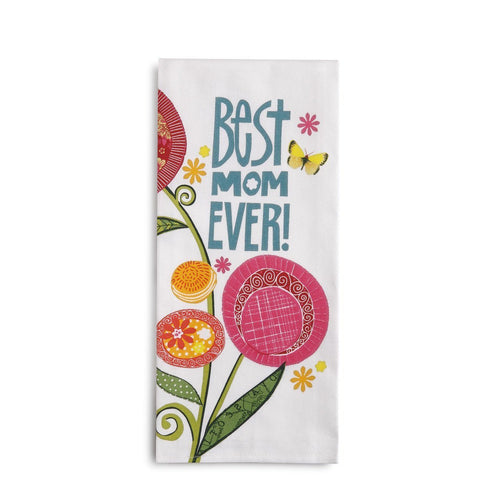 Best Mom EVER Tea Towel with Card-Great Gift Idea! - The Pink Pigs, Fine Jewels and Gifts for People who Love Animals!