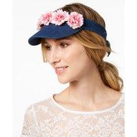 Betsey Johnson Garden Party Visor Pink Ruffled Flowers on Denim Visor-CUTE!-The Pink Pigs, A Compassionate Boutique