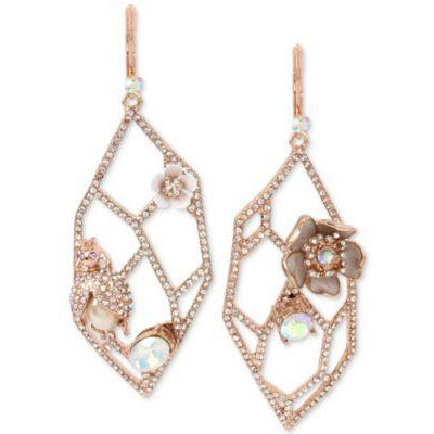 Betsey Johnson Rose Gold Openwork Earrings-The Pink Pigs, A Compassionate Boutique