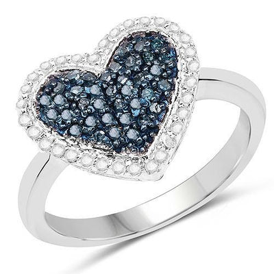 Blue Diamond Heart Ring in Affordable Silver- Gorgeous Gift Idea!-The Pink Pigs, A Compassionate Boutique