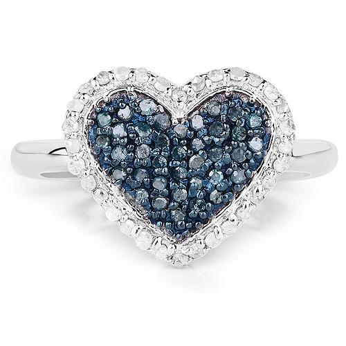 Blue & White Diamond Heart Ring in Affordable Silver- Gorgeous Gift Idea! - The Pink Pigs, A Compassionate Boutique