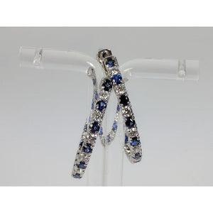Blue Sapphire and Diamond Hoop Earrings in 14K White Gold,-The Pink Pigs, A Compassionate Boutique