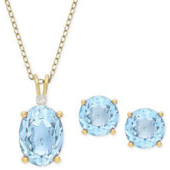 Blue Topaz Earrings and Necklace Set in Sterling Silver-50% off Retail!-The Pink Pigs, A Compassionate Boutique