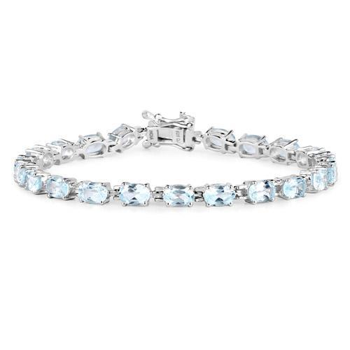 Blue Topaz Tennis Style Bracelet in Solid Sterling Silver, 10.71ctw of Sparkling Blue Topaz-The Pink Pigs, A Compassionate Boutique