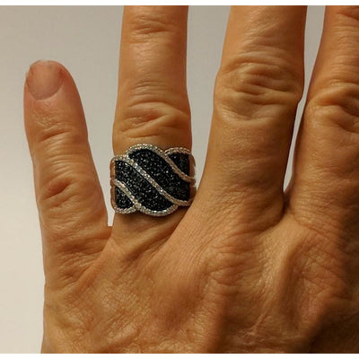 Blue & White Diamond Statement Ring in SOLID 10K Gold .75ctw, STUNNING!-The Pink Pigs, A Compassionate Boutique